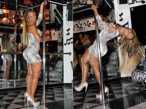 Valesca Popozuda mostra sua habilidade na pole dance