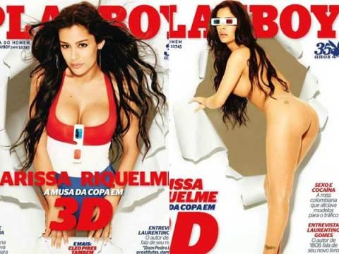 A modelo Larissa Riquelme divulgou, em seu twitter, fotos do ensaio sensual que fez para a edição brasileira da revista Playboy